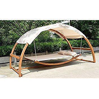Amazon Com Double Arched Wooden Swing Hammock Bed W