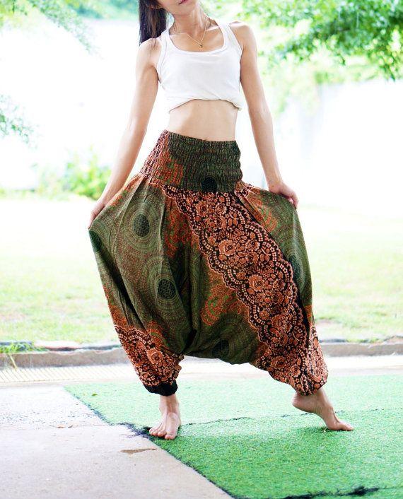 Vert Olive SAROUEL PANTALON Thai, Rayon pantalons, pantalons Boho Strenchy, élastique taille vêtements plage femmes Baggy décontracté G80269