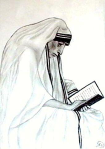 Teréz anya - Emberek szénrajzok apácanő könyvvel a kezében