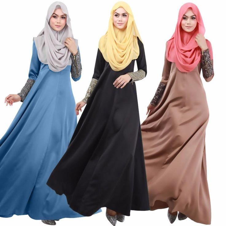 New Super Beautiful Muslim Womens Kaftan Abaya Dress O-Neck Long Sleeve Floor-Length Middle East Arab Elegant Jilbab Dresses