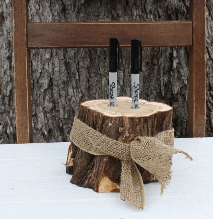 Rustic Wedding Decor, Pen or Marker Holder, tree stump, 2 holes, burlap ribbon, for rustic, outdoor, barn, garden wedding, party, event by tricia16designs on Etsy