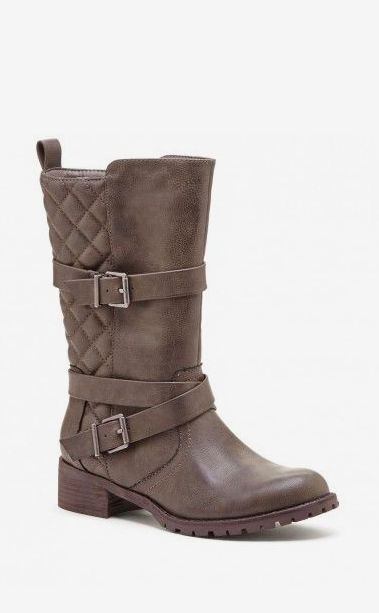 Women's Charcoal Faux Leather 1 1/2 Inch Quilted Moto Boot
