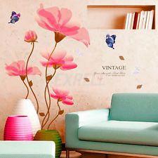 Carta Parete Adesivo Wall Sticker Farfalle Fiori PVC 60x90cm Decalcomania Casa
