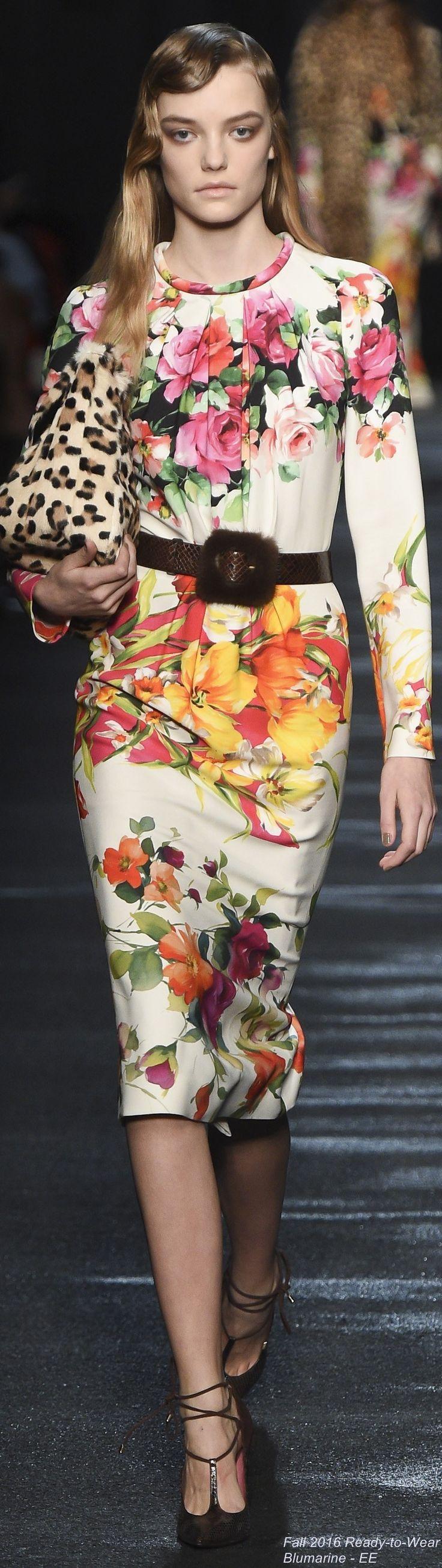 Blumarine F-16 RTW: floral dress, leopard bag.