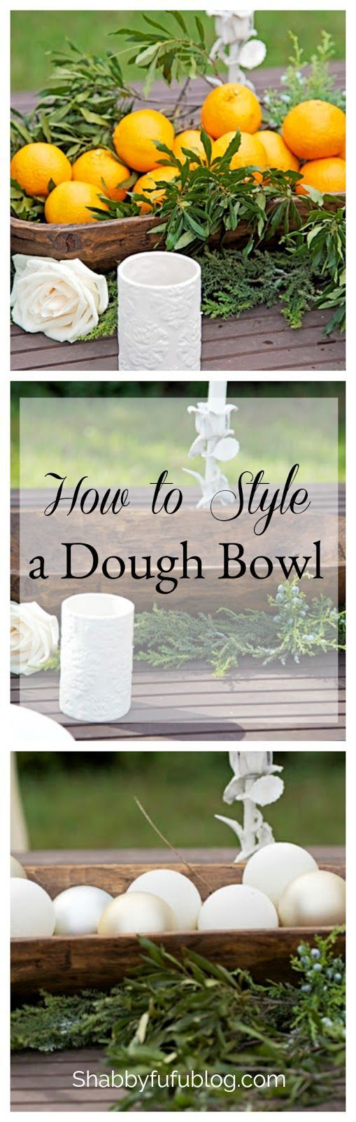 How To Style A Dough Bowl  Style an antique dough bowl or trencher several ways by adding fresh fruit or flowers, pinecones and seasonal decorating items. More on the blog at shabbyfufublog.com  #doughbowl #tablescape #centerpiece