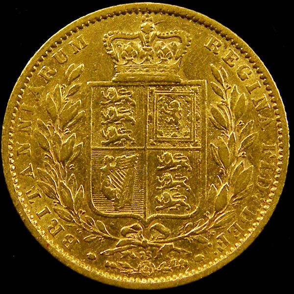 1864 SHIELD GOLD  VICTORIA SOVERIGN CO 605 gold coin uk, england gold coins,Guinea gold sovereign
