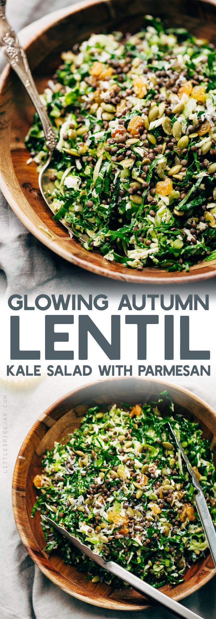 Autumn Lentil Kale Salad with Parmesan - this salad is hearty and filling and perfect for your Thanksgiving table with all it's beautiful colors! #sponsored by @usapulses and @pulsecanada #lentilkalesalad #kalesalad #lentilsalad | Littlespicejar.com