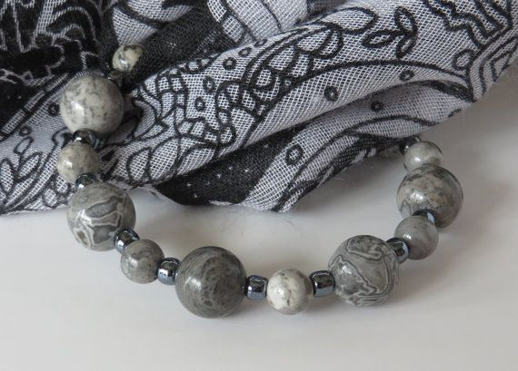 Grey Bead Bracelet / Jasper Bead Bracelet / by BeadablesBracelets
