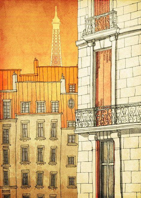 Going crazy with ideas for decorating!    PARIS's windows  - Paris illustration - Paris art illustration print - Paris decor -Love,orange,yellow,Paris wall art,France,French fine art. $20.00, via Etsy.