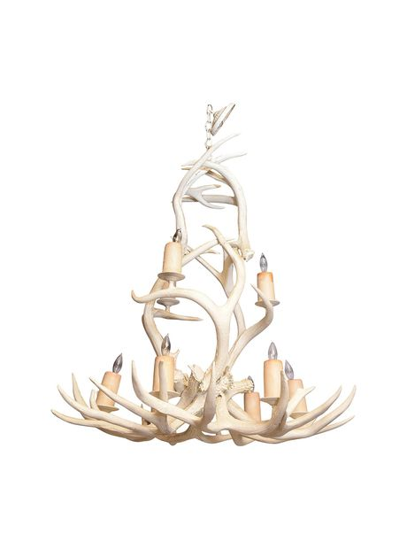 Chandelier, having a frame of antlers, painted in white, two-tiers of - 404 Best Antique & Vintage Chandeliers Images On Pinterest