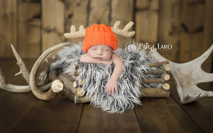 Newborn Photos | Newborn Photography | Newborn Boy | Newborn Siblings shots | © Paige Laro Photography | Studio Photography | Orange hat | Creations by coralee | Crochet | Hunting Theme | http://www.PaigeLaroPhotography.com