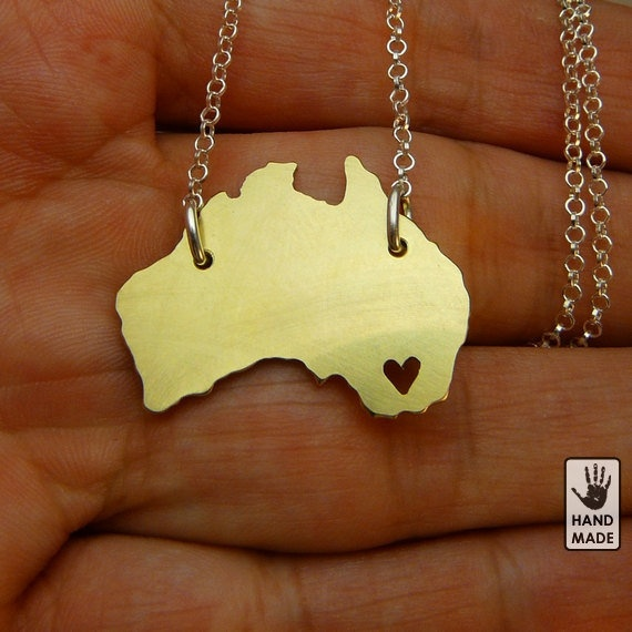 BRASS AUSTRALIA  : sterling silver chain, brass pendant, continent, heart