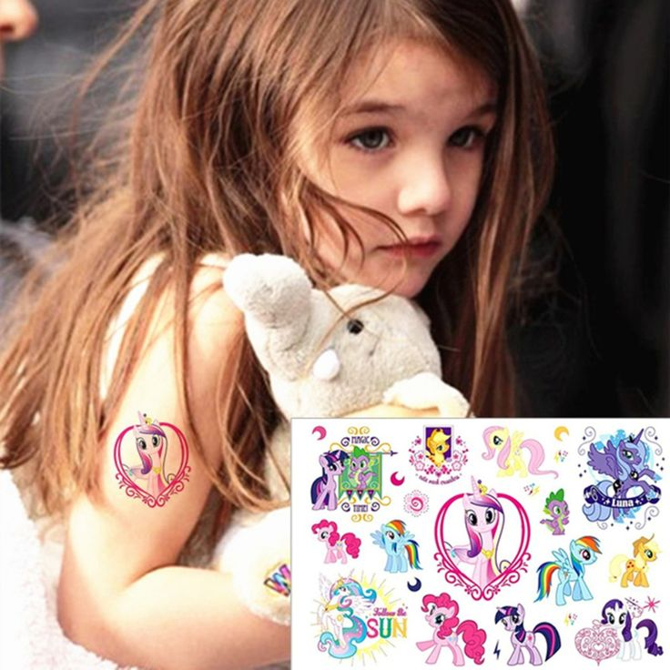 25 style Child Temporary Tattoo Body Art, My Pony Toys Luna Designs, Flash Tattoo Sticker Keep 3-5 days Waterproof 17*10cm