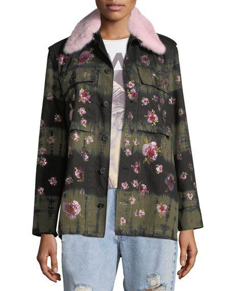 Libertine   Crystal-Flower Fur-Collar Button-Front Army Jacket   Khaki Jacket
