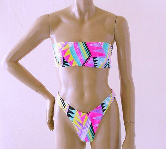 5f17e6d01fb42 80s High Leg Bikini Bottom and Strapless Bandeau Top in Neon Zigzag Print