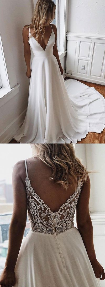 White v neck chiffon lace long prom dress, evening dress C463 · cutedressy · O…