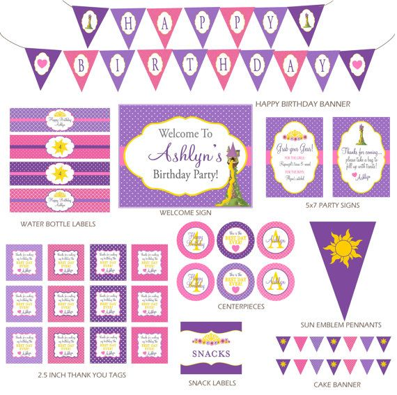 DIY Printable Rapunzel Party Decorations - Tangled Birthday Party Printables