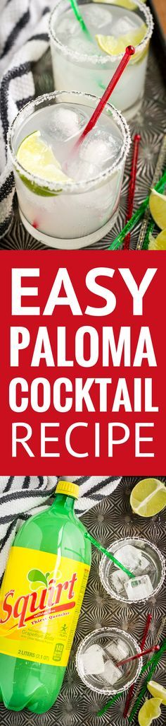 Easy Paloma Cocktail -- a simple cocktail made with Squirt grapefruit soda, tequila, a squeeze of lime juice, and a sprinkle of salt. I like to call it the poor man's margarita, inexpensive and delicious! | paloma cocktail tequila | paloma cocktail recipes | paloma cocktail with squirt | paloma cocktail easy | find the recipe on unsophisticook.com #cocktail #drinkup #drinkrecipes #tequila