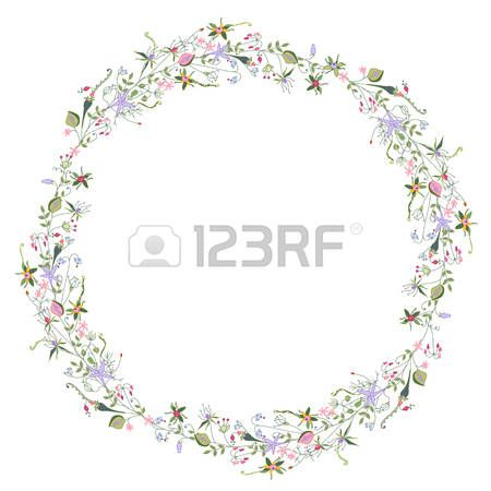 Wreath with stylized summer flowers and herbs  Stock Vector