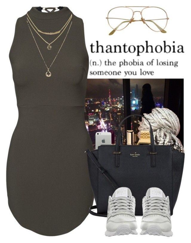 """Black Chick"" by wandelareoceane ❤ liked on Polyvore featuring Guerlain, Chanel, Casio, Kate Spade and Reebok"