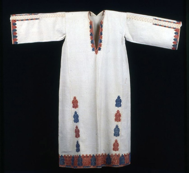 Greece, Attica    Woman's Dress, 1700/1900    Cotton, plain weave; embroidered with cotton in back and double running stitches; insets of cotton, needle lace  129.8 x 146.5 cm (51 1/8 x 57 5/8 in.)  Gift of Mrs. Meyer Rosenfield, 1940.1319    Textiles  Not on Display