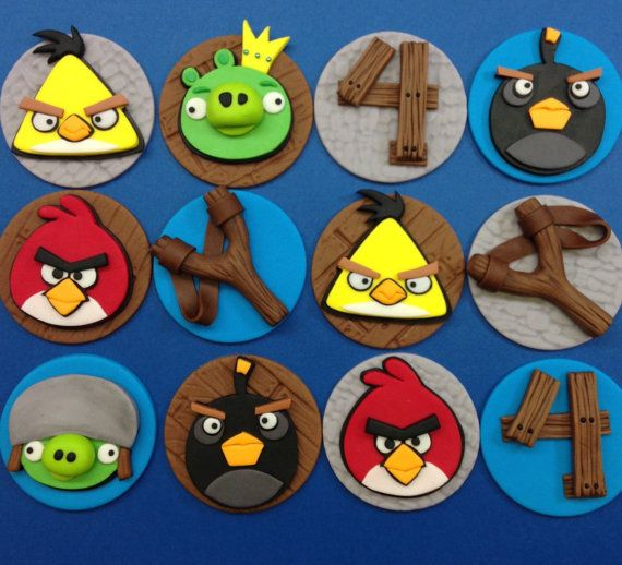 Game Birds Fondant Cupcake Toppers, Video Gaming Toppers, Gamer Birthday, Edible