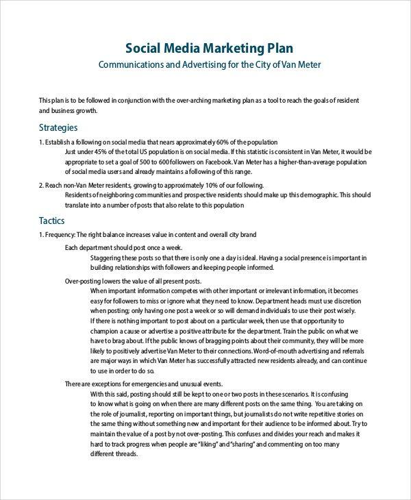 Free 13 Sample Social Media Marketing Plan Templates In Pdf In Social Media Marketi Social Media Marketing Plan Marketing Plan Template Marketing Plan Example