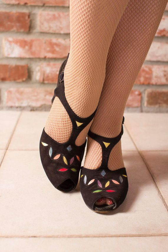 Vintage 1940s Shoes  Adorable Black Suede Pin Up T by FabGabs