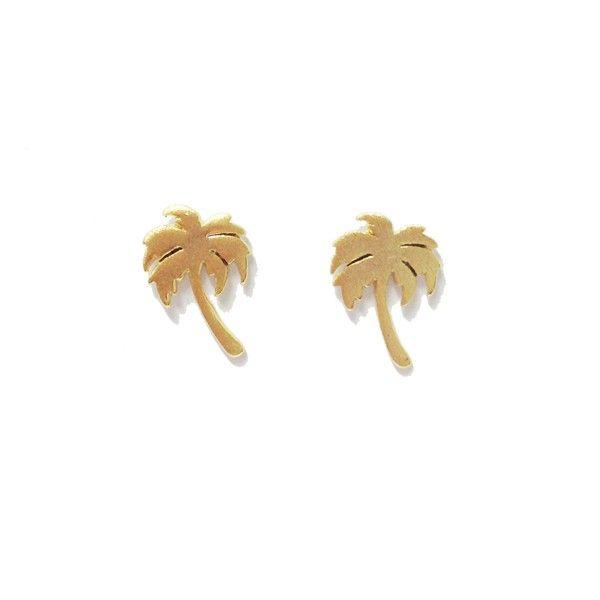 Palm Tree Gold Stud Earrings by Pigeonhole. http://aslanandleo.com/product/palm-tree-gold-stud-earrings-by-pigeonhole/