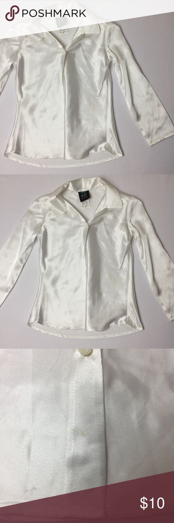 EARTH GIRL by Anxiety White Satin Button Up SMALL White Satin material collar neck button down shirt. Not in perfect condition: has some blemishes. Might come off in the washing machine but haven't tried it. Size small. ANXIETY Tops Button Down Shirts
