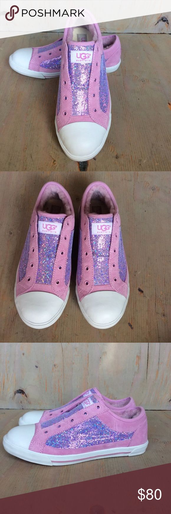 Ugg pink sneakers Laela Mermaid 6 youth 7.5 Ugg sneakers pink laela mermaid sparkle size 6 youth which fits a women's 7.5. Brand new never worn UGG Shoes