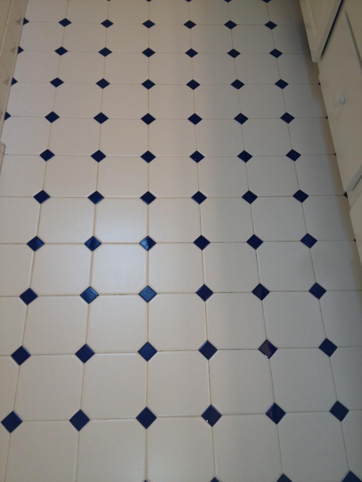 White and cobalt blue tile bathrooms pinterest for Blue floor tile
