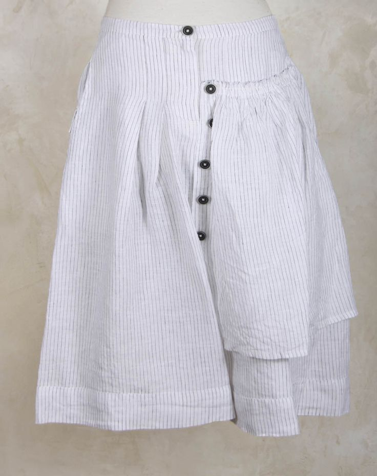 Shorts with Layered Pocket in Charcoal Stripe - Crea Concept