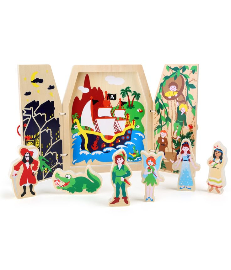 A beautiful fairytale in a wooden box with doors. The two wooden doors are closed with a red rubber band and a wooden bead. They are printed with a pirate ship and a castle. When open they reveal the fairytale of Peter Pan in Neverland. Children have great fun telling the story with figures such as Captain Hook and the fairy Tinkerbell.