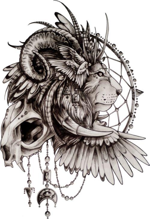 dream catcher lion tattoo - Google Search