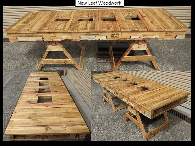3 Pallets + Old Shed Wood = Outdoor Pallet Table (with room for ice buckets & flowers).  www.newleafwoodwork.com.au