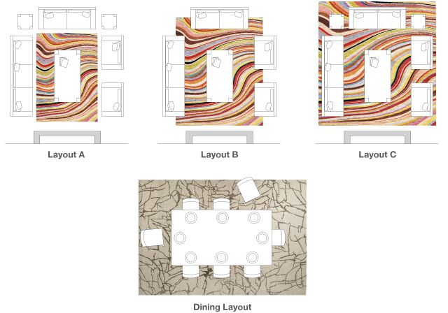Rug size and fitting guide by The Rug Company.  For living room, dining, and bedroom.
