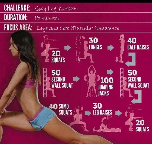 """15分鐘性感""""腰""""臀""""腿""""訓練計畫~    寒冷下雨天又溼又冷不想出門,缺少運動越來越胖:(  就在家來個短短十五分鐘,徒手就可以做到下半身雕朔與心肺有氧訓練。特別針對大腿前後內外側,小腿,腰部,臀部    20下深蹲>30下弓步蹲>40下提踵(顛腳尖)  >50秒靠牆蹲靜止>100下開合跳>50秒靠牆蹲靜止  >40下相撲式深蹲(腳很開)>左右各30下踢腿>20下深蹲  20>30>40>50>100>50>40>30>20  有沒有很好記呢!"""