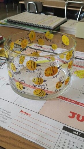 "Thumbprint Bumblebee Bowl-perfect teacher/volunteer gift...fill with candy, ""Thanks for BEEING so helpful & sweet this year."""