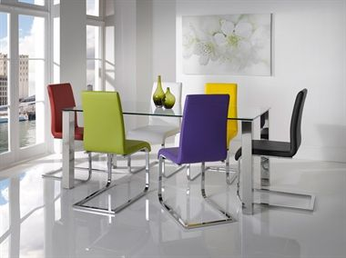 Hue.  Add impact and style to any dining area with these vibrant urban dining chairs from Wilkinson.  Finished in faux leather in a range of colours and a chrome steel frame, the Hue dining chair will make a striking style statement in any modern dining room or kitchen.