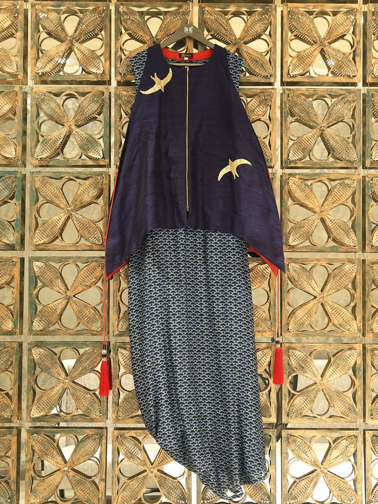 Navy Double Layered Silk Kurti