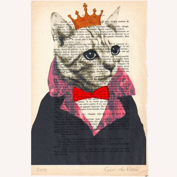 Illustratie Poes met kroon van CocoDeParis via http://nl.dawanda.com/