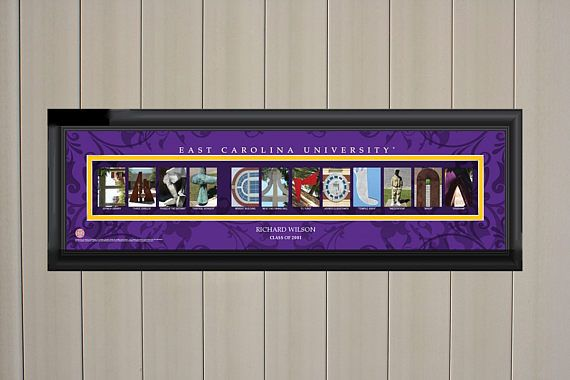 The East Carolina Personalized College Letter Art Print (up to two lines) features Photos representing letters that together spell out the schools name, nickname or slogan. The photos are from the school and includes a caption showing where the photo was taken. Print is handsomely