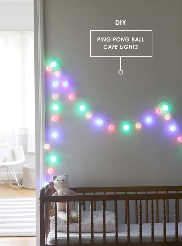 Light up your space (and soften those harsh LED bulbs) with this Ping pong cafe light DIY.
