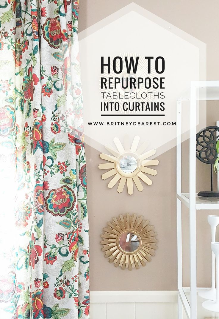 How to repurpose tablecloths into curtains.