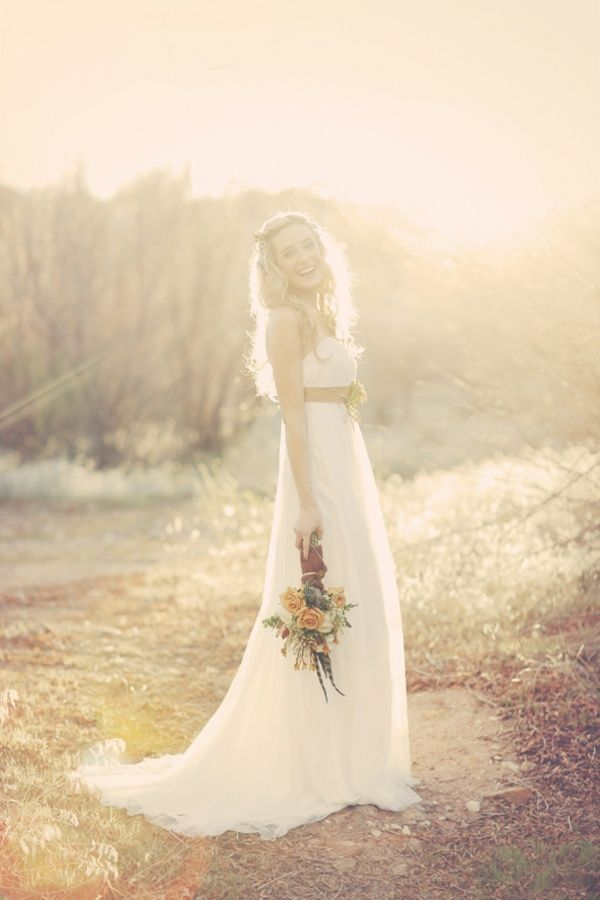 Flowing Casual Boho Style Bridal Dress For Outdoor Wedding
