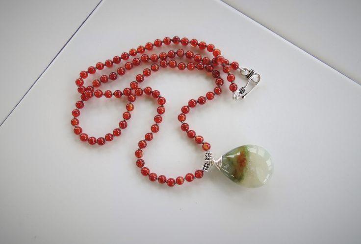 Jaspe d'océan, Cornaline, collier orange noué à la main, soie Griffin grise, pendentif, argent sterling Bali, argent fin, pierre naturelle de la boutique Bijoubicou sur Etsy