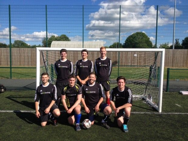 Shoosmiths Solent football team wins shield at a Santander six aside football tournament in aid of the British Heart Foundation