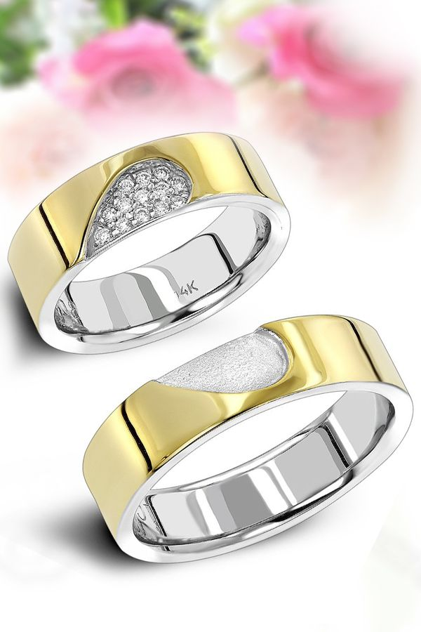 14K GOLD HIS & HERS TWO TONE DIAMOND WEDDING BAND SET BY LUXURMAN 0.25CT