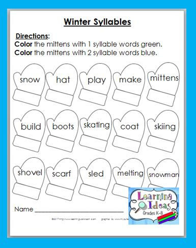 FREE Winter Syllables Worksheet
